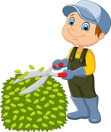 Cartoon the man cutting grass