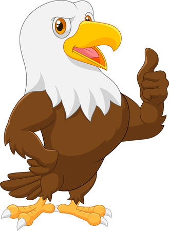 Eagle cartoon giving thumb up