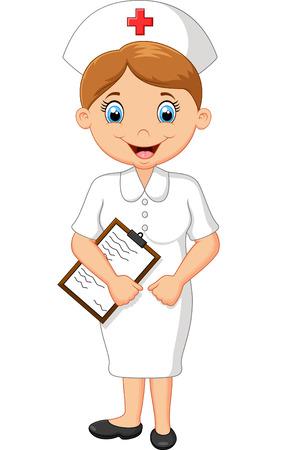 enfermeras: Ilustración vectorial de la enfermera de la historieta