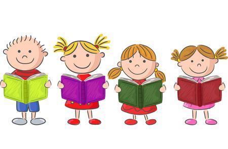 Cartoon little kid holding book Illustration