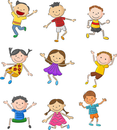child girl: Cartoon many kids jumping together and happy