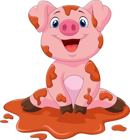 pig tails: Cartoon cute baby pig