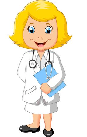 happy smile: Cartoon a doctor holding blank sign