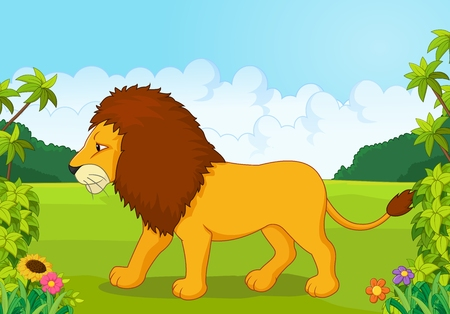 lion tail: Cartoon lion from the side Illustration