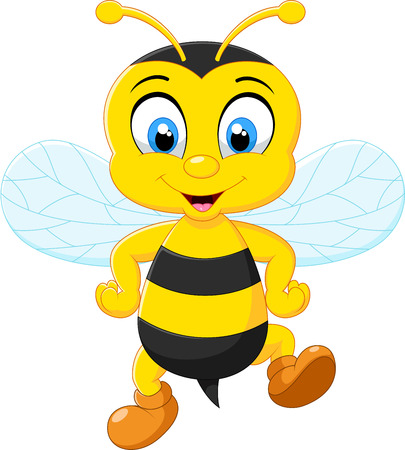 Cartoon adorable bees posing Illustration