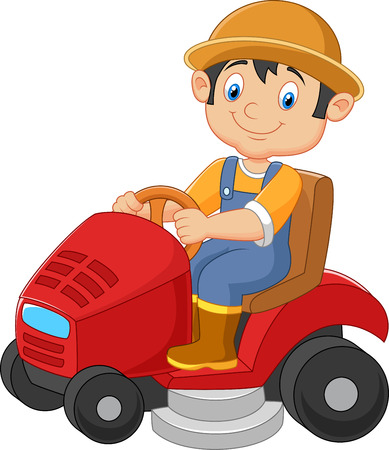 Cartoon male gardener riding mowing with ride-on lawn mower Ilustração