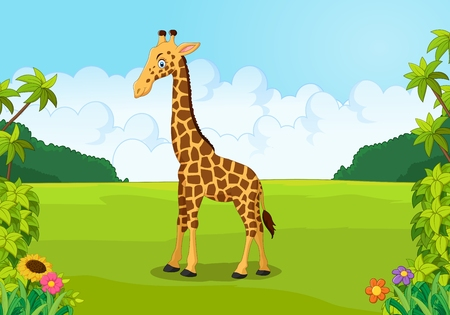 cute giraffe: Cartoon carino giraffa in posa