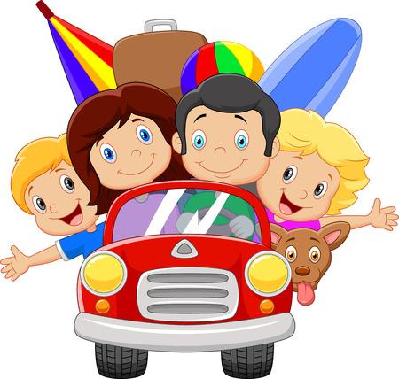 Cartoon vacation with family Illustration