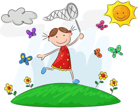fun in the sun: Cartoon little girl holding nets