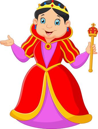 Cartoon queen holding scepter Vettoriali