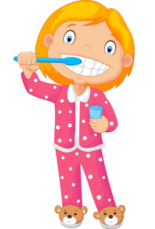 bedtime: Cartoon A Young Girl Brushing Her Tooth