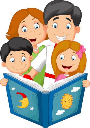 Cartoon familie leest een verhaaltje voor het slapengaan