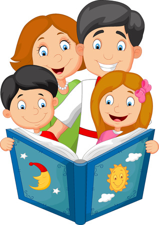 bedtime story: Cartoon family read a bedtime story Illustration