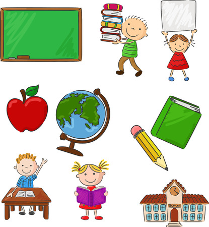 holding sign: Cartoon assorted school supplie and activitie
