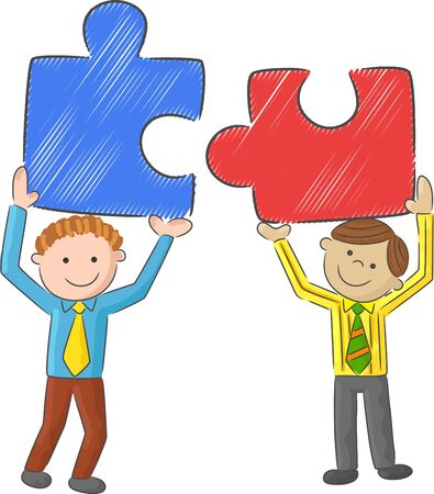 tall man: Cartoon men holding big puzzle