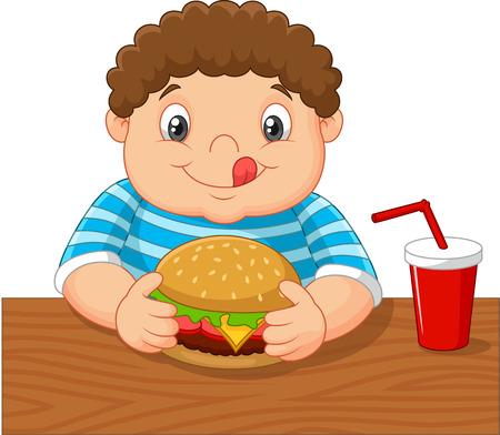 hungry: Cartoon little boy holding hamburger