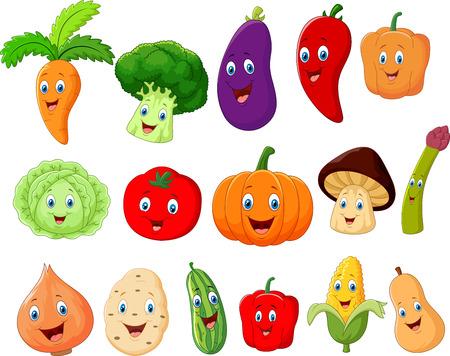 calabacin: Personaje de dibujos animados lindo de verduras Vectores