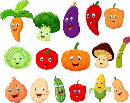 verduras verdes: Personaje de dibujos animados lindo de verduras Vectores