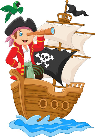 captain ship: Cartoon little pirate holding binoculars Illustration