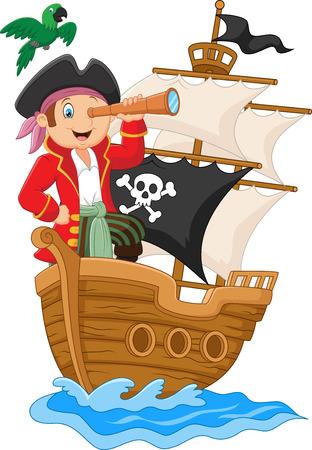 sombrero pirata: Pequeño pirata que sostiene los prismáticos de la historieta Vectores