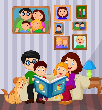 story book: Cartoon read a story book in the living room