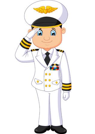respectful: Cartoon captain respectful