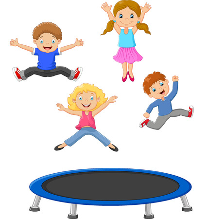 high jump: Cartoon little kid playing trampoline Illustration