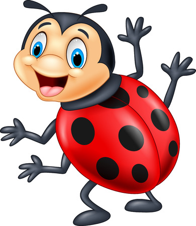 ladybug cartoon: Cartoon ladybug waving Illustration