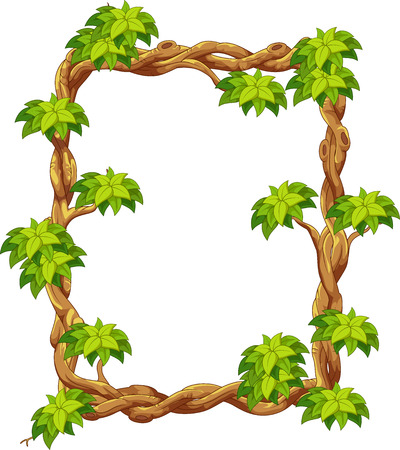 Wooden frame with green leaf cartoon