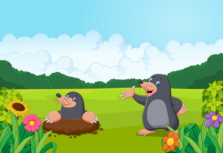 small flowers: Cartoon happy mole in the forest