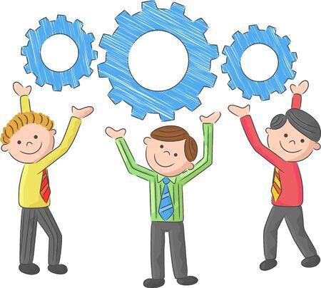 corporate team: Cartoon Gear Connection Collaboration Corporate Team Concept