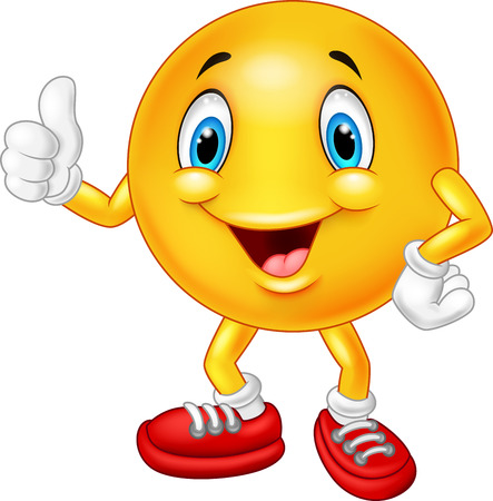smile faces: Cartoon emoticon giving thumb up