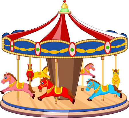 Cartoon carousel with colorful horses