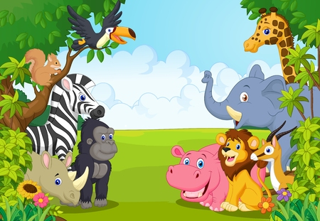 Cartoon collection animal in the jungle Stock Illustratie