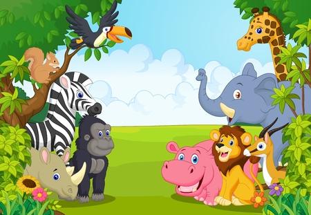 hayvanlar: Ormanda karikatür hayvan Çizim