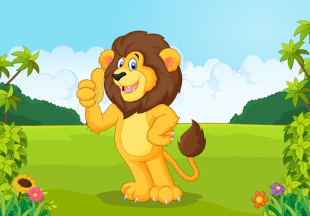 lion tail: Cartoon lion giving thumb up