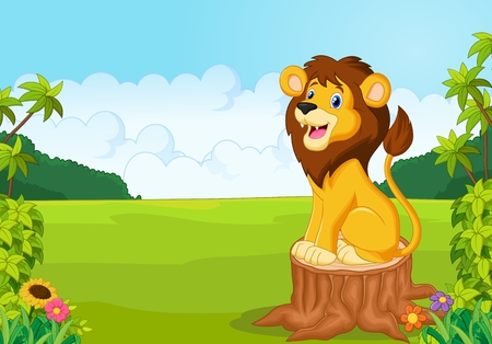 standing lion: Cartoon cute lion sit on the tree
