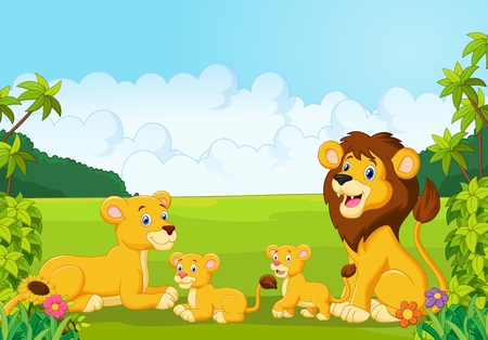 grass family: Cartoon lion family Illustration