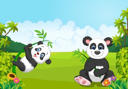 Cartoon mom and baby panda climbing bamboo tree