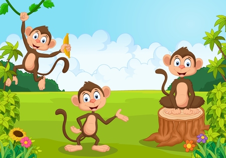 monkey cartoon: Cartoon illustration monkey playing in the forest
