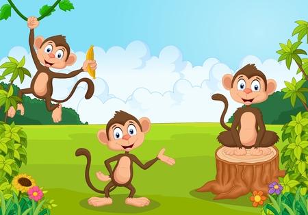 Ilustración de dibujos animados mono de juego en el bosque