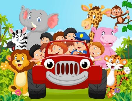 Cartoon klein kind blij met dieren. vector illustratie
