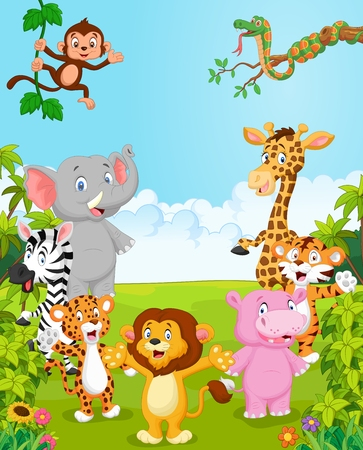 Colección de dibujos animados feliz animal. ilustración vectorial