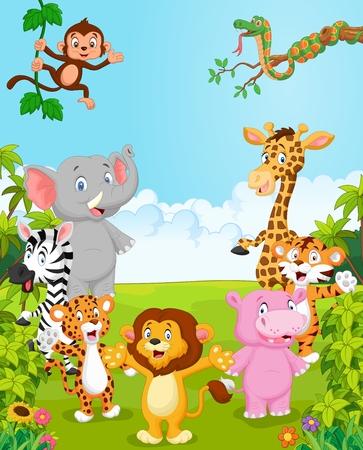origen animal: Colecci�n de dibujos animados feliz animal. ilustraci�n vectorial