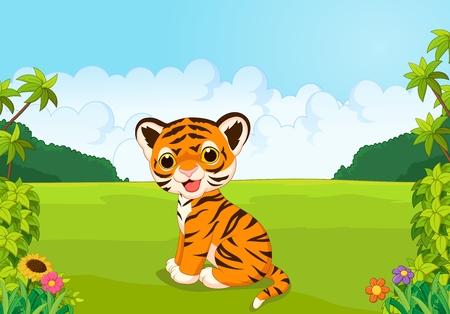 tigre bebe: Cartoon tigre lindo bebé Vectores