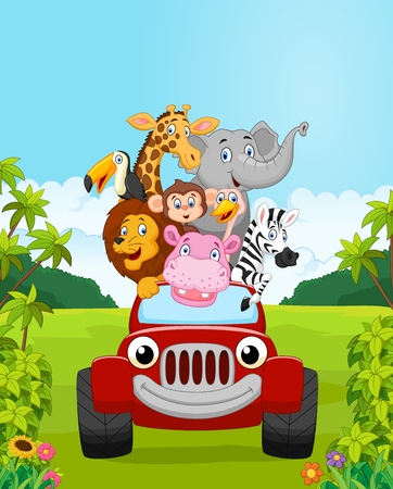 red animal: Cartoon collection animal vacation with red car. vector illustration
