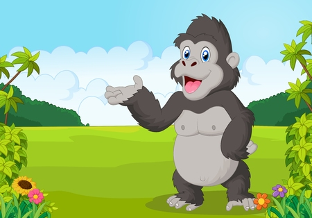 gesturing: Cartoon gorilla waving Illustration
