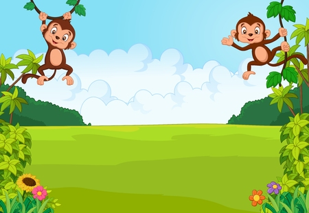 Cartoon cute monkey. vector illustration