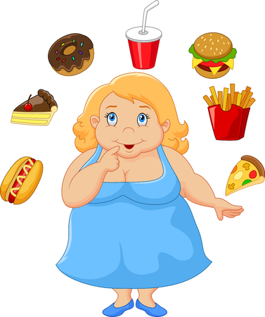 donne obese: Cartoon donna grassa pensare al cibo