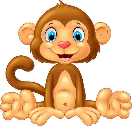 monkey: Cartoon cute monkey sitting on white background